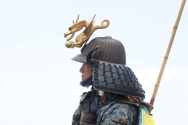 epa04341321 (16/27) A local man parades in his family's traditional samurai costume on the grounds in Minami Soma city, located 30 kilometers from the destroyed nuclear power plants in Fukushima prefecture, Japan, 27 July 2014. The Soma area has an 1,100 year samurai tradition that is celebrated every summer during the annual Soma-Nomaoi festival. The three-day event attracts thousands of people to watch the 450 participants on horseback and dressed in antique 10th century period costumes to perform in cavalry displays, races and competitions. Following the 11 March 2011 nuclear accident the local festival has grown in momentum, as local residents strive to pass on their tradition to local young people and children. EPA/EVERETT KENNEDY BROWN PLEASE REFER TO ADVISORY NOTICE (epa04341305) FOR FULL FEATURE TEXT