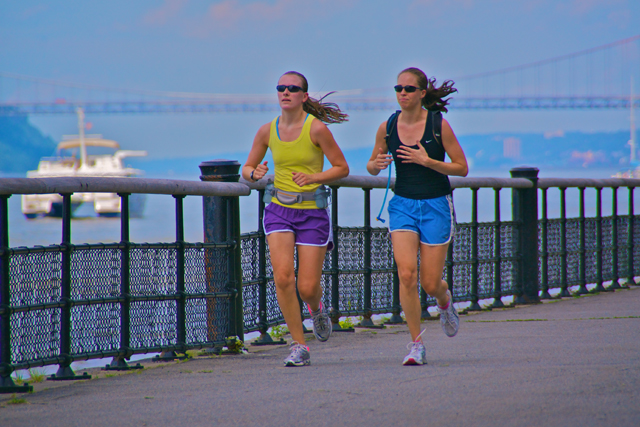 I do believe we're the two most beautiful women out here jogging today. In any case, we're certainly the most colorful...