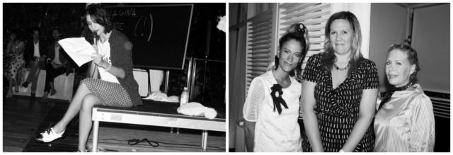 Links: Nadyas Pool-Lecture in Miami, rechts in der Mitte Kathy Grayson von The Hole. Fotos: Purple Magazine