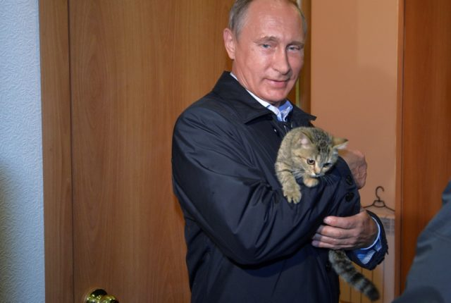 Russian President Vladimir Putin holds a cat as he inspects housing built for victims of wildfires in the village of Krasnopolye, in Khakassia, a region in southeastern Siberia, Russia, Friday, Sept. 4, 2015. (Alexei Druzhinin/RIA-Novosti, Kremlin Pool Photo via AP)
