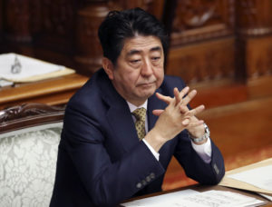 Japanese Prime Minister Shinzo Abe attends discussion about new law of Japan's military role at the Upper House plenary session in Tokyo, Monday, July 27, 2015. (AP Photo/Koji Sasahara)