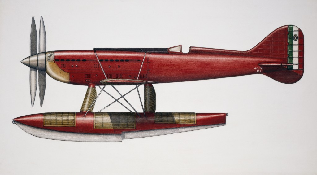 ITALY - AUGUST 02: Macchi-Castoldi MC72 racing seaplane, 1931, Italy, drawing. (Photo by DeAgostini/Getty Images)