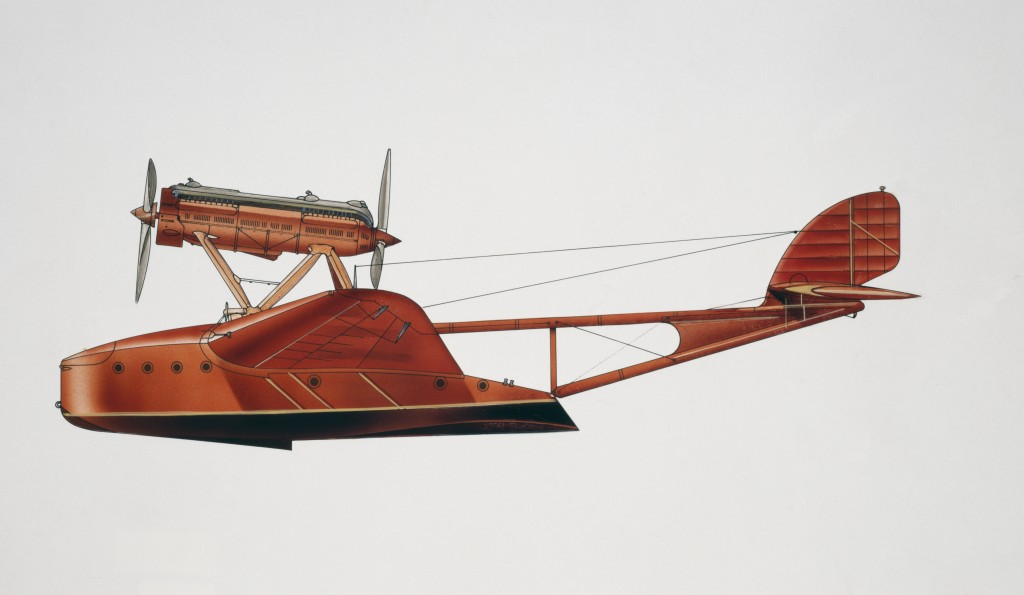 ITALY - AUGUST 02: Savoia-Marchetti S55 Jahu seaplane, 1926, Italy, drawing. (Photo by DeAgostini/Getty Images)