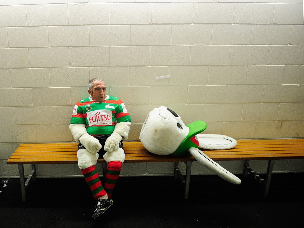 TOWNSVILLE, AUSTRALIA - AUGUST 13:  Rabbitohs mascot Charlie Gallico waits for his team to come out the dressing rooms at half time during the round 23 NRL match between the North Queensland Cowboys and the South Sydney Rabbitohs at 1300SMILES Stadium on August 13, 2015 in Townsville, Australia.  (Photo by Ian Hitchcock/Getty Images) *** BESTPIX ***