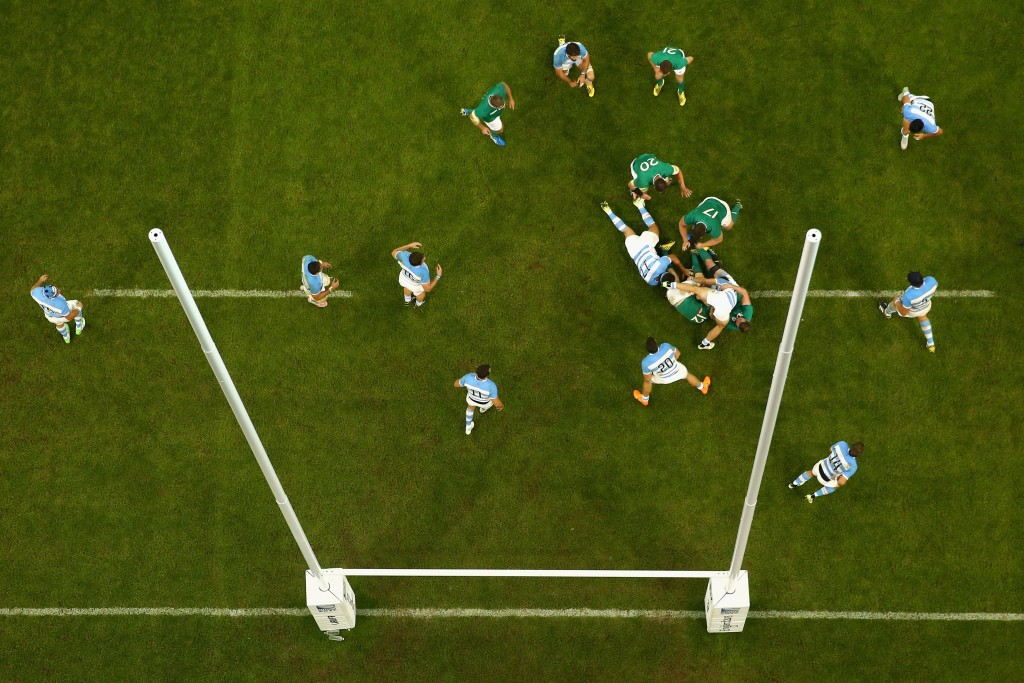 CARDIFF, WALES - OCTOBER 18: Robbie Henshaw of Ireland is held up by Lucas Noguera Paz of Argentina during the 2015 Rugby World Cup Quarter Final match between Argentina and Ireland at the Millennium Stadium on October 18, 2015 in Cardiff, United Kingdom. (Photo by Michael Steele/Getty Images)