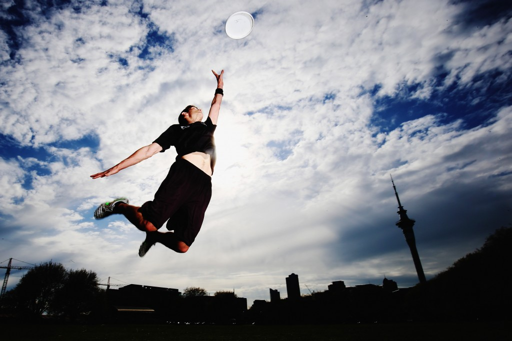 AUCKLAND, NEW ZEALAND - OCTOBER 01: New Zealand Ultimate Frisbee player Zev Fishman dives for a frisbee during a photoshoot on October 1, 2015 in Auckland, New Zealand. The International Olympic Committee have fully recognized the World Flying Disc Federation, ultimate frisbees governing body, meaning it is now eligible for IOC funding and can compete with other sports for inclusion in future Olympic games. (Photo by Hannah Peters/Getty Images)