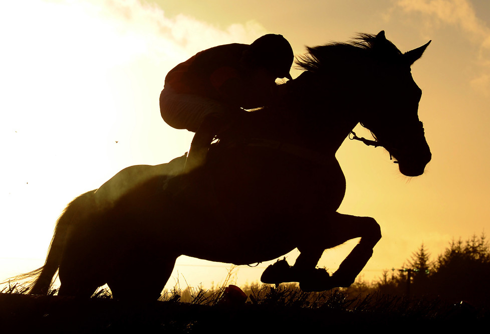 EXETER, ENGLAND - DECEMBER 17: A runner makes its way over a jump during the Free Bet At 188bet Maiden Hurdle at Exeter Racecourse on December 17, 2015 in Exeter, England. (Photo by Harry Trump/Getty Images)