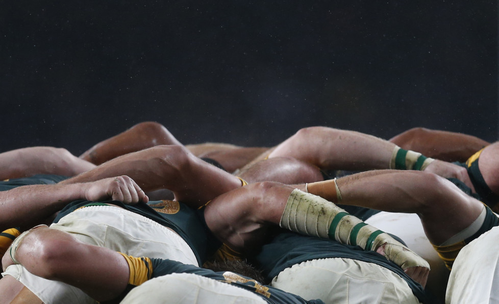 South Africa players compete in a scrum with New Zealand players during their Rugby World Cup Semi-Final match at Twickenham in London, Britain, October 24, 2015. REUTERS/Russell Cheyne TPX IMAGES OF THE DAY - RTX1T1RT