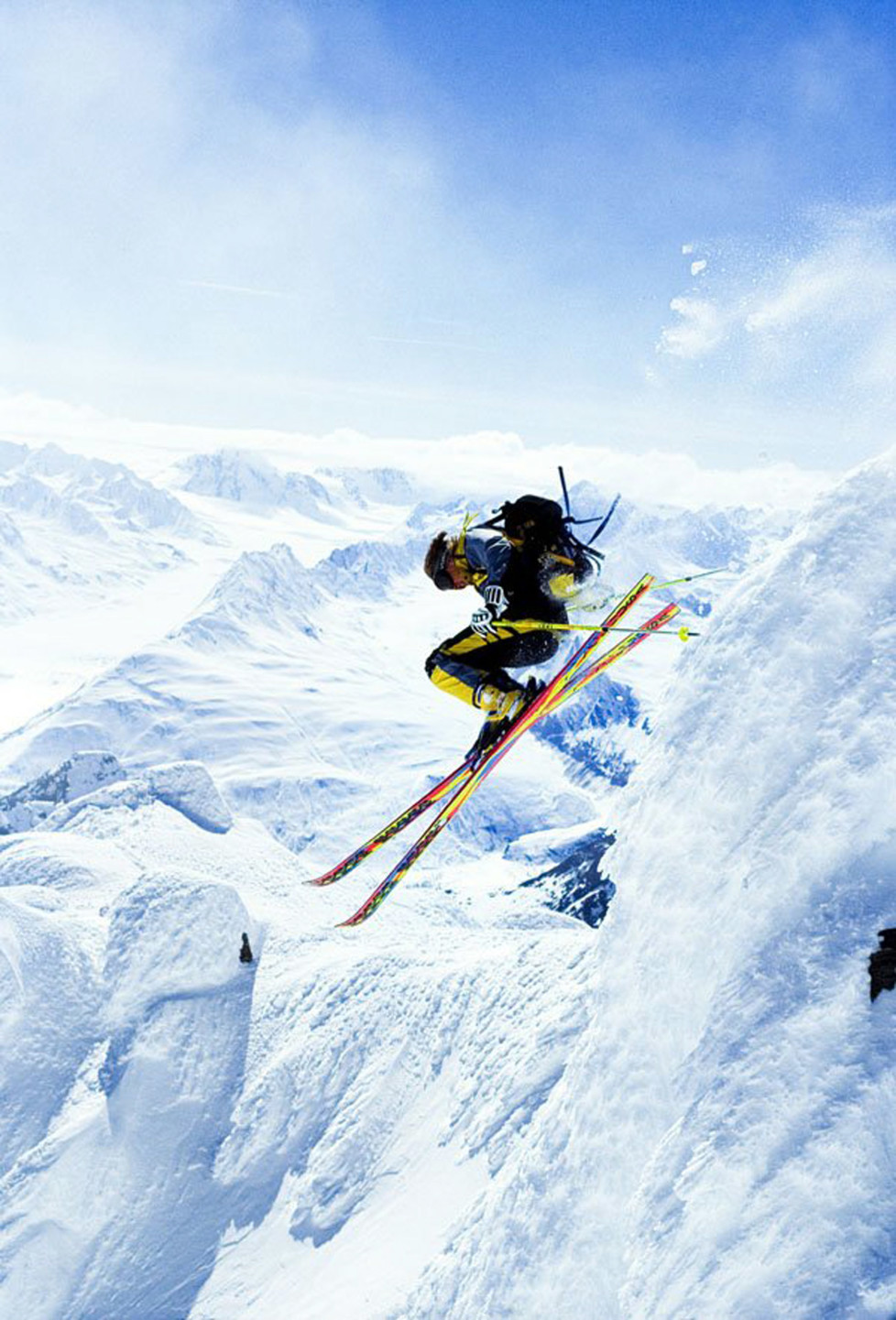 """American extreme skier Scott Schmidt pushing the envelope in the Chugach Mountains, near Valdez Alaska, from the movie """"Steep."""" (Photo by Chris Noble/Anchorage Daily News/MCT via Getty Images)"""