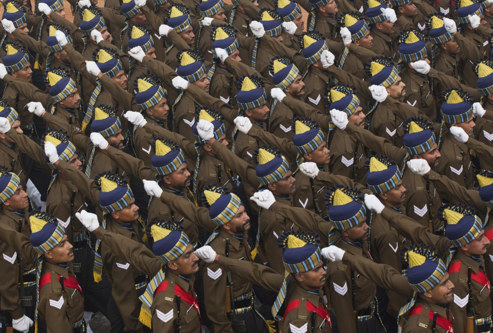 Indian security forces march during the Republic Day parade in New Delhi, India, Tuesday, Jan. 26, 2016. French President Francois Hollande Tuesday joined Indian Prime Minister Narendra Modi and other top officials to view an elaborate display of Indian marching bands and military hardware as the guest of honor at India's Republic Day celebration. (AP Photo/ Bernat Armangue)