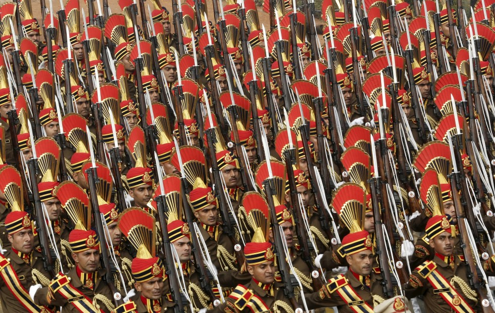 Indian soldiers march during the Republic Day parade in New Delhi, India, January 26, 2016. REUTERS/Altaf Hussain