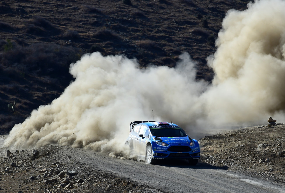 Norwegian driver Mads Ostberg steers his Fiesta RS WRC, during the 2016 FIA World Rally Championship in Guanajuato, Guanajuato State, Mexico, on March 4, 2016. AFP PHOTO / RONALDO SCHEMIDT / AFP / RONALDO SCHEMIDT
