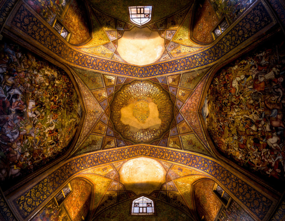 "Chehel Sotoun palace ( literally: ""palace of Forty Columns"") is located in Isfahan. built by Shah Abbas II to be used for his entertainment and receptions. This Image is showing the Ceiling of it`s main hall."