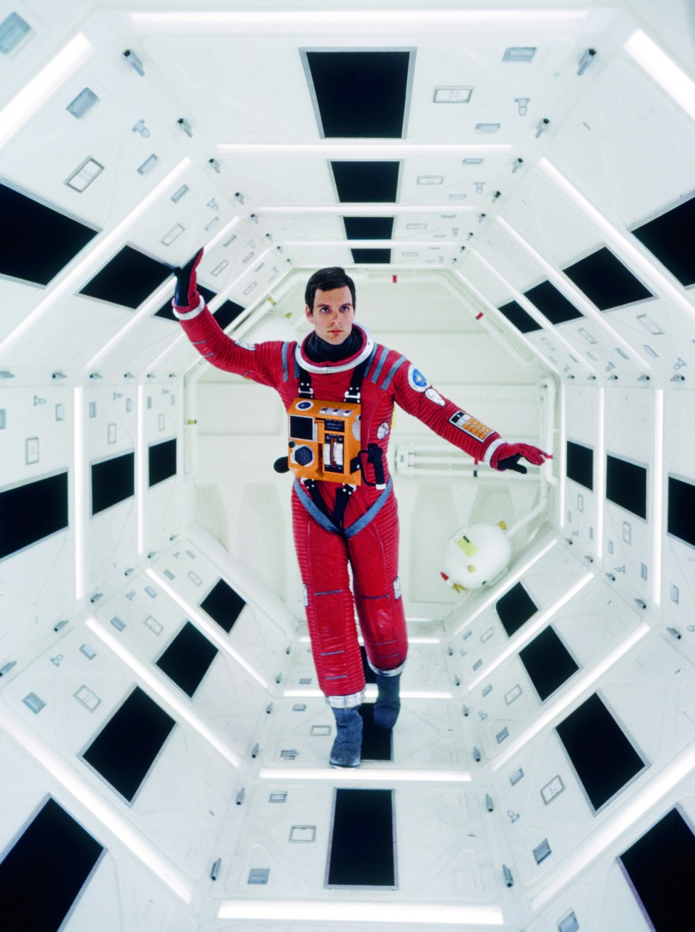 Actor Keir Dullea poses in the equipment storage corridor to one side of Discovery's pod bay. © Dmitri Kessel/Getty Images © 2014 Turner Entertainment Co. 2OO1: A Space Odyssey and all related characters and elements are trademarks of and © Turner Entertainment Co. (s14)