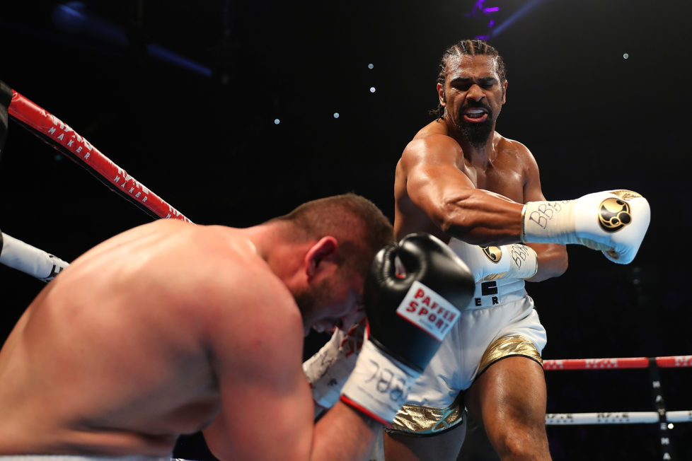 LONDON, ENGLAND - MAY 21: David Haye of England knocks down Arnold Gjergjaj of Switzerland during their Heavyweight fight at The O2 Arena on May 21, 2016 in London, England. (Photo by Richard Heathcote/Getty Images)