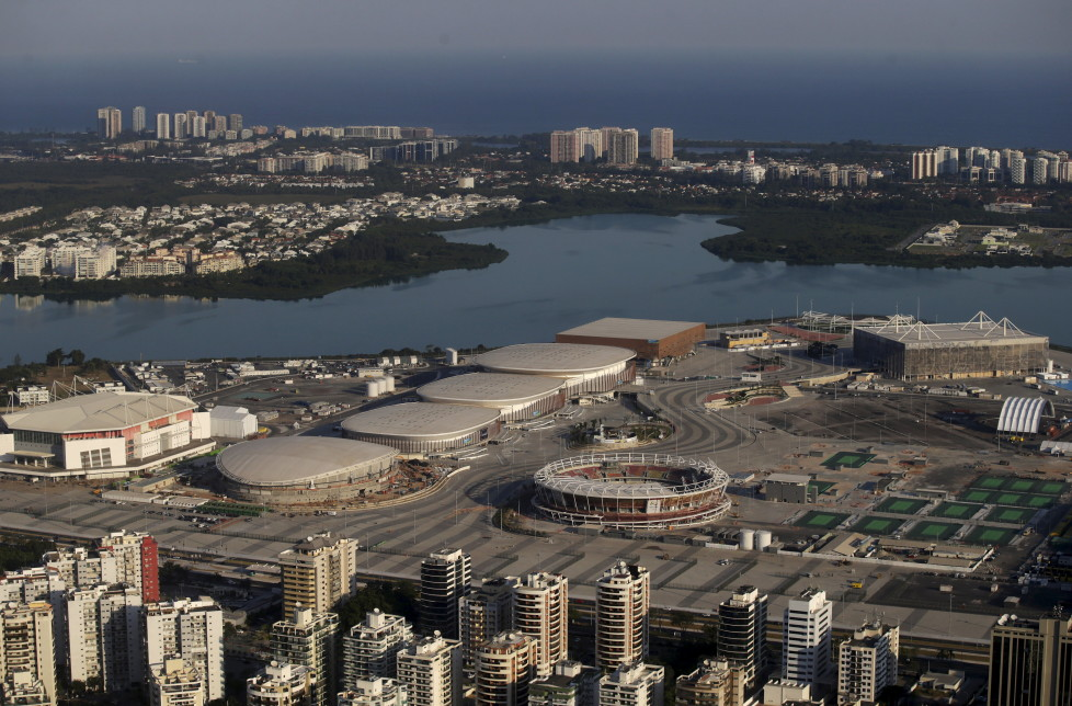 """An aerial view shows the 2016 Rio Olympic park in Rio de Janeiro, Brazil, April 25, 2016. With 100 days to go before the Olympic games begin in Rio de Janeiro, a host nation famous for doing things at the last minute faces a novel situation - the organisation is not an issue, political turmoil and apathy are. REUTERS/Ricardo Moraes SEARCH """"100 OLYMPICS"""" FOR THIS STORY. SEARCH """"THE WIDER IMAGE"""" FOR ALL STORIES - RTX2BREO"""