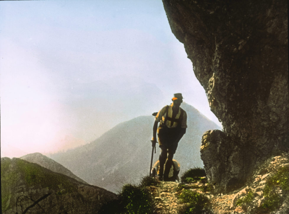 UNSPECIFIED - CIRCA 1910: The climb. Tyrol, Austria. Handcolored lantern slide around 1910. (Photo by Imagno/Getty Images)