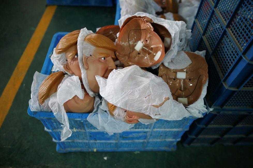 "Masks of U.S. Republican presidential candidate Donald Trump lie in a box at Jinhua Partytime Latex Art and Crafts Factory in Jinhua, Zhejiang Province, China, May 25, 2016. There's no masking the facts. One Chinese factory is expecting Donald Trump to beat his likely U.S. presidential rival Hilary Clinton in the popularity stakes. At the Jinhua Partytime Latex Art and Crafts Factory, a Halloween and party supply business that produces thousands of rubber and plastic masks of everyone from Osama Bin Laden to Spiderman, masks of Donald Trump and Democratic frontrunner Hillary Clinton faces are being churned out. Sales of the two expected presidential candidates are at about half a million each but the factory management believes Trump will eventually run out the winner. ""Even though the sales are more or less the same, I think in 2016 this mask will completely sell out,"" said factory manager Jacky Chen, indicating a Trump mask. REUTERS/Aly Song SEARCH ""JINHUA MASK"" FOR THIS STORY. SEARCH ""THE WIDER IMAGE"" FOR ALL STORIES."
