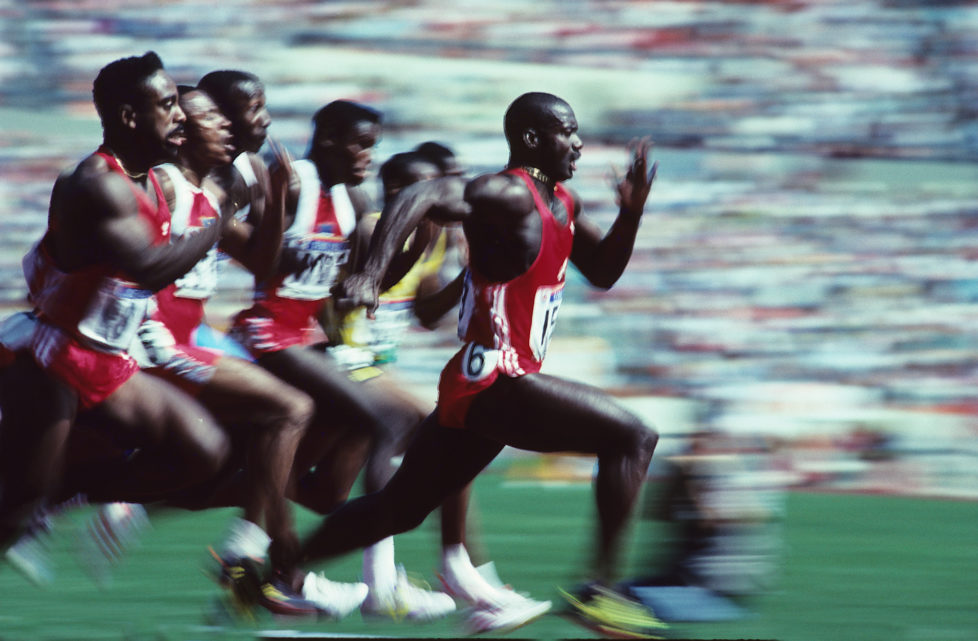 SEOUL, REPUBLIC OF KOREA - SEPTEMBER1988: Jamaican-born Canadian Ben Johnson speeds to win the Olympic 100m final in a world record 9.79 seconds September 24, 1988 at Seoul Olympic Stadium in Seoul, Korea. (Photo by Ronald C. Modra/Sports Imagery/Getty Images)*** Local Caption***Ben Johnson