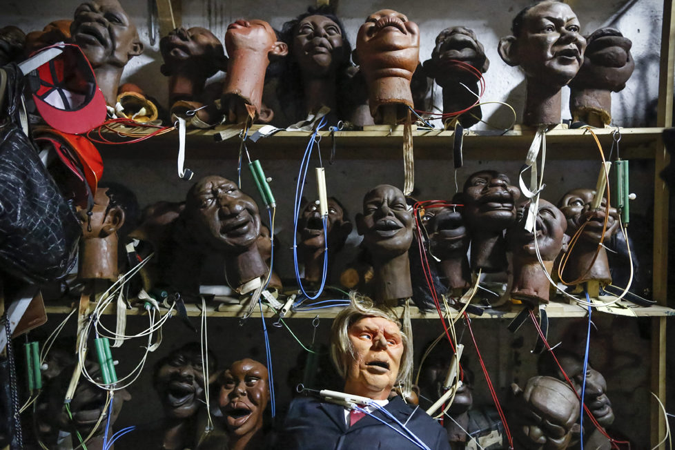 epa05548719 (01/19) The Donald Trump puppet (bottom-C) is placed on a shelf along with other puppets depicting various domestic and international figures in a storeroom after the shooting of the 11th season of 'The XYZ Show' satirical puppet show at a studio in Nairobi, Kenya, 31 August 2016. The XYZ Show is Kenya's popular satirical television program and has been taking pokes at the country's political elites and international figures ever since it aired its first episode in 2009. With the 2016 US presidential elections, the show is now taking on Republican Presidential candidate Donald Trump. EPA/DAI KUROKAWA PLEASE REFER TO ADVISORY NOTICE (epa05548718) FOR FULL FEATURE TEXT