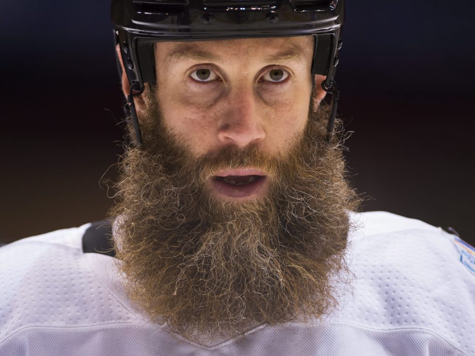 Team Canada's Joe Thornton looks upice during practice ahead of the World Cup of Hockey finals in Toronto, Monday, Sept. 26, 2016. (Nathan Denette/The Canadian Press via AP)