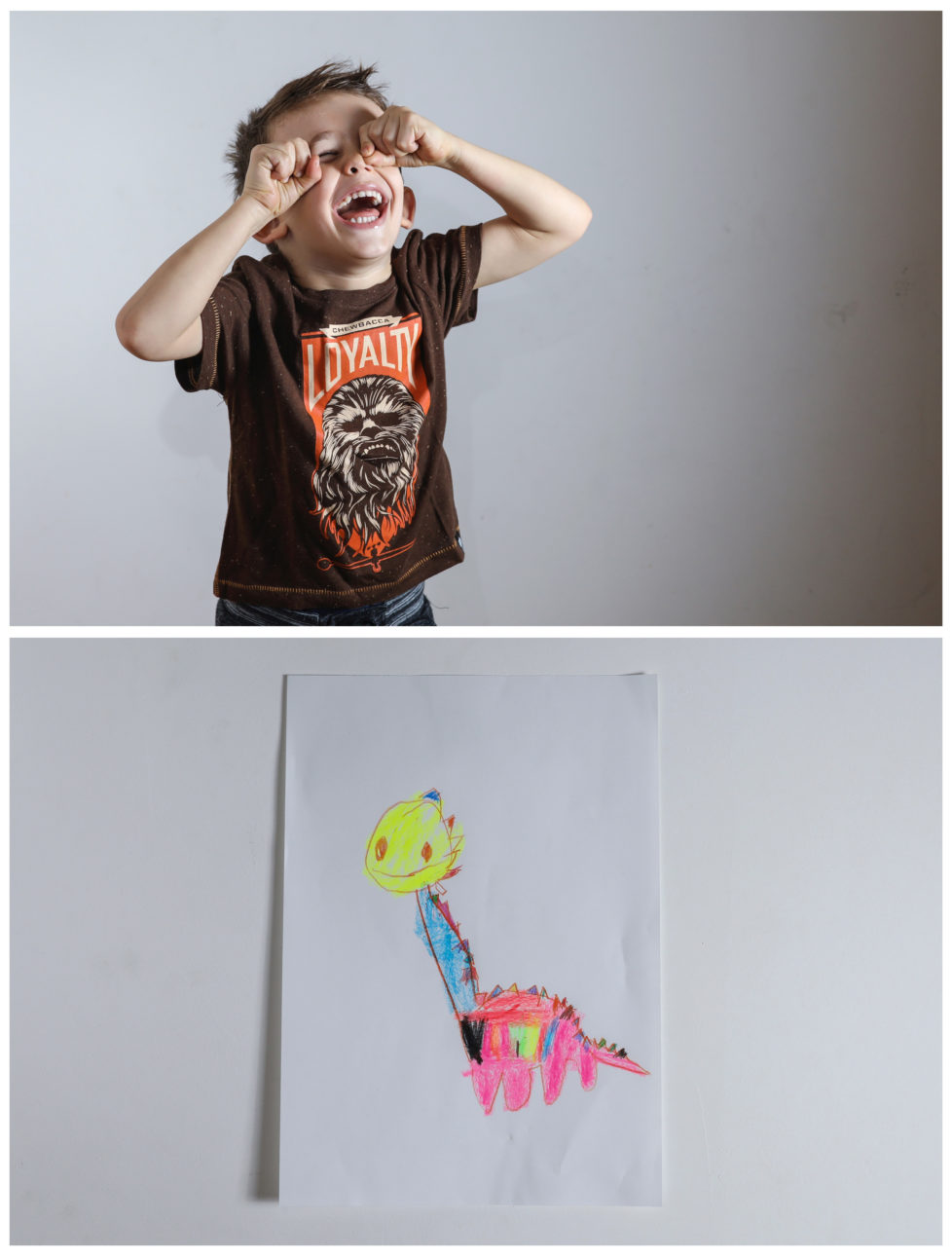 "A combination picture shows Maxim, almost 4, laughing at his apartment as he poses for a photograph (top) and his drawing of what he wants to get for Christmas from Santa in Belgrade, Serbia, November 23, 2016. Maxim said he would like to get a plastic dinosaur. Reuters photographers around the world asked children to draw what they wanted to receive from Santa for Christmas. REUTERS/Marko Djurica SEARCH ""CHRISTMAS WISHES"" FOR THIS STORY. SEARCH ""WIDER IMAGE"" FOR ALL STORIES. TPX IMAGES OF THE DAY - RTSV36W"