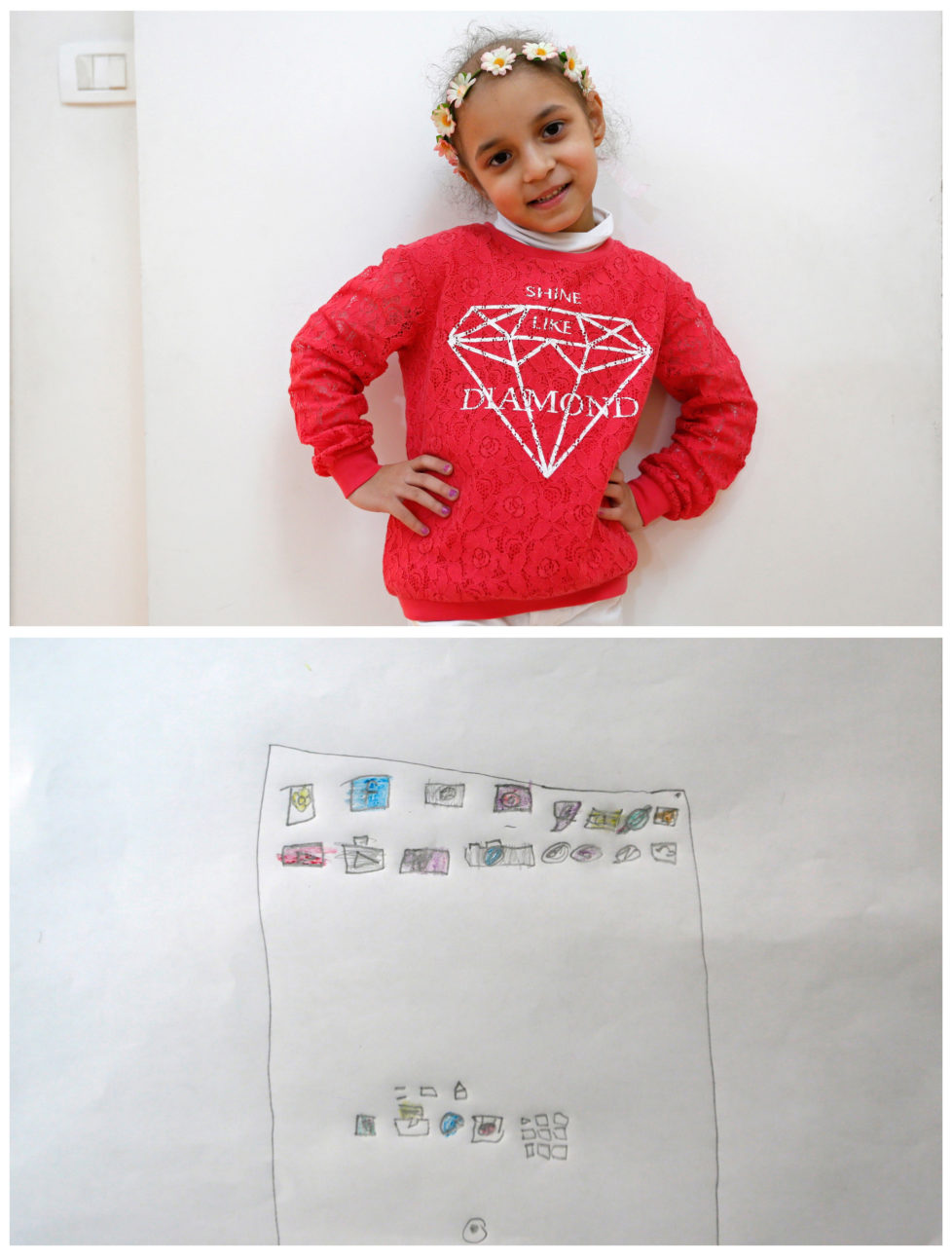 "A combination picture shows Lynn Habbouche, 6, suffering from leukaemia, posing for a photograph at her home (top) and her drawing of what she wants to get for Christmas from Santa, in Beirut, Lebanon November 26, 2016. All she wants from Santa is to recover and an iPad, she said. Reuters photographers around the world asked children to draw what they wanted to receive from Santa for Christmas. REUTERS/Jamal Saidi SEARCH ""CHRISTMAS WISHES"" FOR THIS STORY. SEARCH ""WIDER IMAGE"" FOR ALL STORIES. - RTSV356"