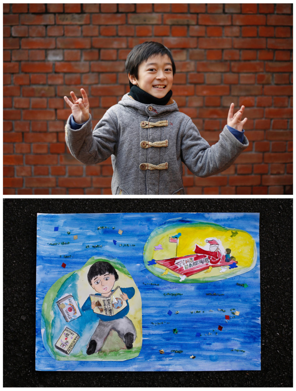 "A combination picture shows Natsuki Ariga, 9, posing for a photograph at a library (top) and his drawing of what he wants to get for Christmas from Santa, in Tokyo, Japan December 1, 2016. Natsuki wants to get comic books on Japanese and world history. ""Santa gives me a present every year for working hard. That's why I practice Electone (Yamaha's electronic organ), abacus and track and field very hard, "" he said. Reuters photographers around the world asked children to draw what they wanted to receive from Santa for Christmas. REUTERS/Toru Hanai SEARCH ""CHRISTMAS WISHES"" FOR THIS STORY. SEARCH ""WIDER IMAGE"" FOR ALL STORIES. - RTSV35U"