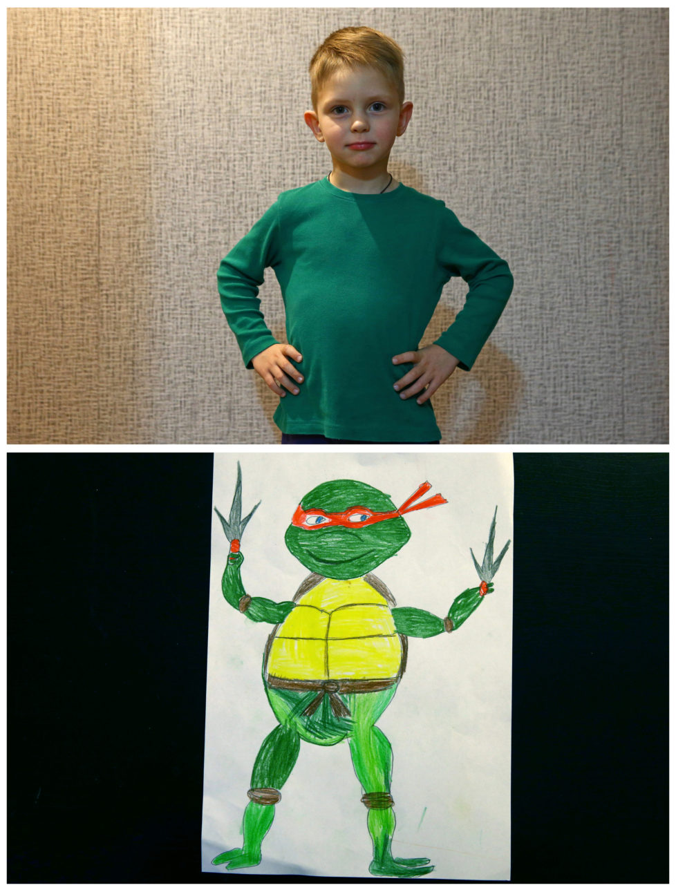 "A combination picture shows Dmitriy Kuchur, 5, posing for a photograph at his house (top) and his drawing of what he wants to get for Christmas from Santa, in Minsk, Belarus, November 23, 2016. Dmitriy wants Teenage Mutant Ninja Turtles. Reuters photographers around the world asked children to draw what they wanted to receive from Santa for Christmas. REUTERS/Vasily Fedosenko SEARCH ""CHRISTMAS WISHES"" FOR THIS STORY. SEARCH ""WIDER IMAGE"" FOR ALL STORIES. - RTSV37N"