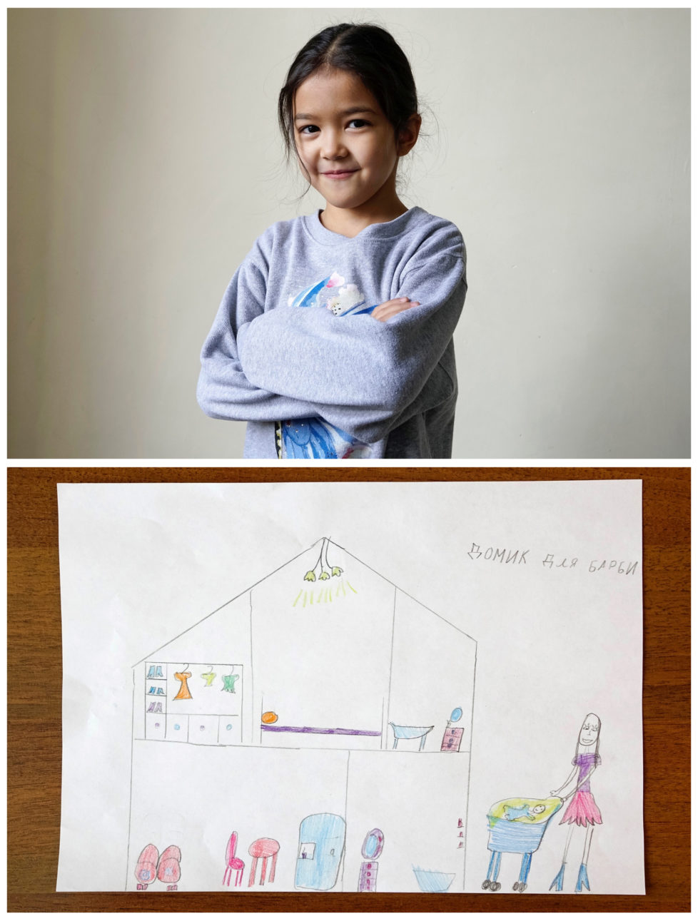 "A combination picture shows Adina Serikbayeva, 7, posing for a photograph at musical school before her piano lesson (top) and her drawing of what she wants to get for Christmas from Santa, in Almaty, Kazakhstan, November 24, 2016. Adina dreams to get a house for her Barbie doll. Writing on the drawing reads: ""House for Barbie."" Reuters photographers around the world asked children to draw what they wanted to receive from Santa for Christmas. REUTERS/Shamil Zhumatov SEARCH ""CHRISTMAS WISHES"" FOR THIS STORY. SEARCH ""WIDER IMAGE"" FOR ALL STORIES. - RTSV35X"