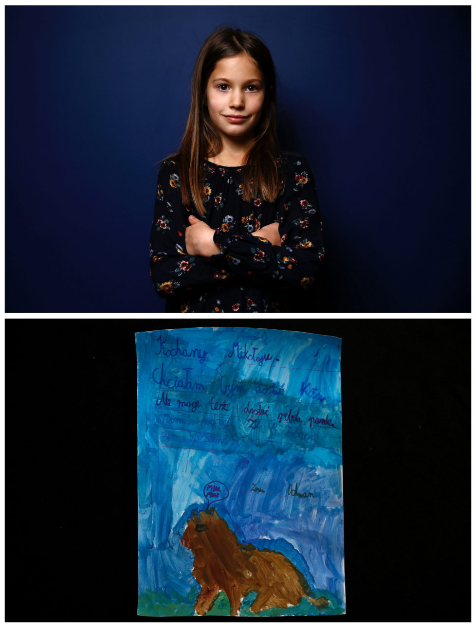 "A combination picture shows Zofia, 8, posing for a photograph November 23, 2016 (top) and her drawing of what she wants to get for Christmas from Santa, in Warsaw, Poland November 24, 2016. ""Dear Santa, I would like to get a cat. But a Robopanda would be ok too. I hope to see you this time. Zosia."" she wrote. Reuters photographers around the world asked children to draw what they wanted to receive from Santa for Christmas. REUTERS/Kacper Pempel SEARCH ""CHRISTMAS WISHES"" FOR THIS STORY. SEARCH ""WIDER IMAGE"" FOR ALL STORIES. TPX IMAGES OF THE DAY. - RTSV37I"