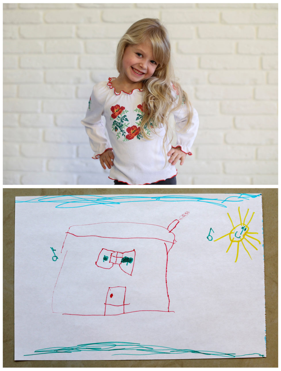 "A combination picture shows Diana Zhaldak, 4, posing for a photograph at her house (top) and her drawing of what she wants to get for Christmas from Santa, near Kiev, Ukraine, November 22, 2016. Diana wants a magical, musical house where she can play. Reuters photographers around the world asked children to draw what they wanted to receive from Santa for Christmas. REUTERS/Gleb Garanich SEARCH ""CHRISTMAS WISHES"" FOR THIS STORY. SEARCH ""WIDER IMAGE"" FOR ALL STORIES. - RTSV350"