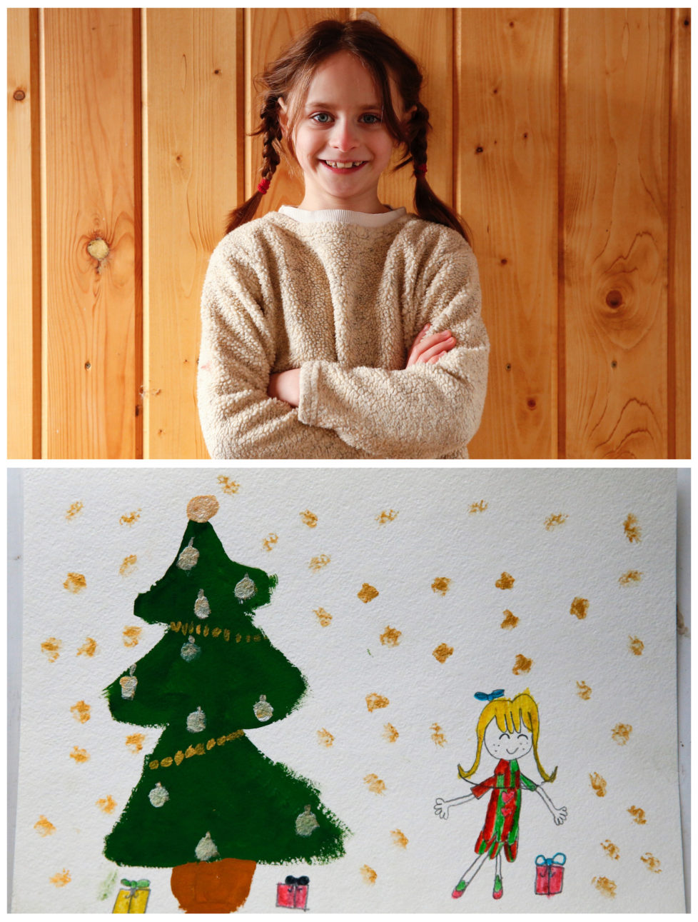 "A combination picture shows Anna Krylova, 7, posing for a photograph at her house (top) and her drawing of what she wants to get for Christmas from Santa, in the settlement of Zagoryansky, outside Moscow, Russia November 25, 2016. Anna wants a Lalaloopsy doll. Reuters photographers around the world asked children to draw what they wanted to receive from Santa for Christmas. REUTERS/Grigory Dukor SEARCH ""CHRISTMAS WISHES"" FOR THIS STORY. SEARCH ""WIDER IMAGE"" FOR ALL STORIES. - RTSV35E"