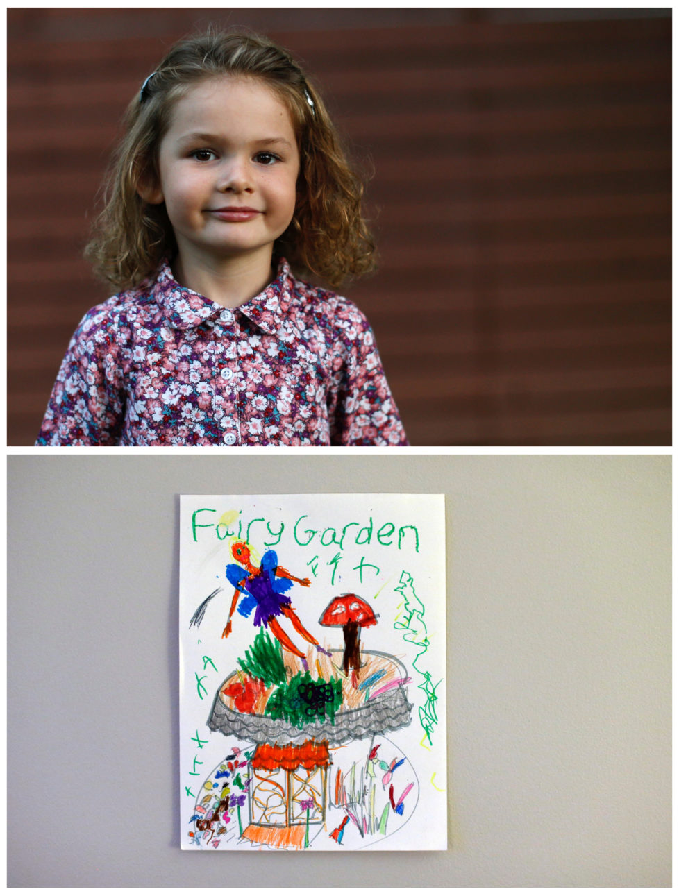 "A combination picture shows Raphaela Bernard, 4, posing for a photograph in the backyard of her home (top) and her drawing of what she wants to get for Christmas from Santa, in Altadena, California U.S., November 27, 2016. Raphaela wants a fairy garden. Reuters photographers around the world asked children to draw what they wanted to receive from Santa for Christmas. REUTERS/Mario Anzuoni SEARCH ""CHRISTMAS WISHES"" FOR THIS STORY. SEARCH ""WIDER IMAGE"" FOR ALL STORIES. - RTSV35I"