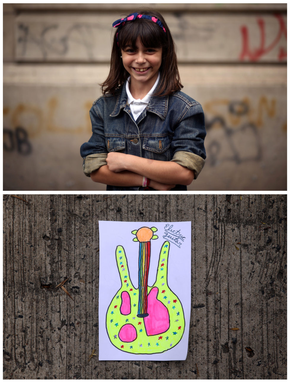 "A combination picture shows Morena Fay, 9, posing for a photograph (top) and her drawing of what she wants to get for Christmas from Santa, in Buenos Aires, Argentina, November 16, 2016. ""I want to ask Papa Noel (Santa Claus) to bring me an electric guitar this Christmas, because I love music and I've wanted one for a long time,"" Morena said. Reuters photographers around the world asked children to draw what they wanted to receive from Santa for Christmas. REUTERS/Marcos Brindicci SEARCH ""CHRISTMAS WISHES"" FOR THIS STORY. SEARCH ""WIDER IMAGE"" FOR ALL STORIES. - RTSV37B"