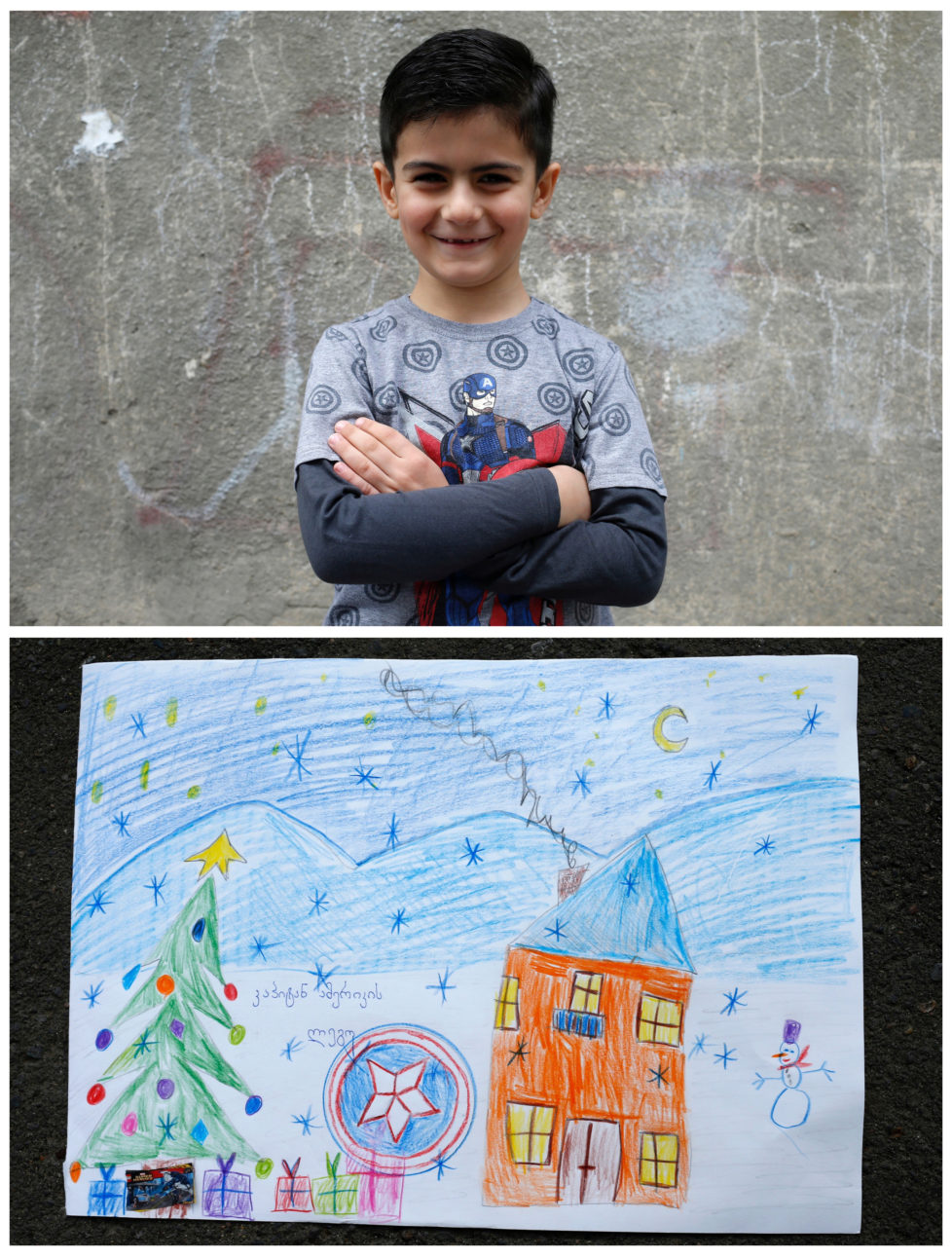 "A combination picture shows Sandro, 6, posing for a photograph (top) and his drawing of what he wants to get from Santa, in Tbilisi, Georgia, November 19, 2016. Sandro wants to get ""Captain America"" Lego set. He believes Santa can see his drawing and guess what he wants. He is waiting for his gift to be found under the Christmas tree. Reuters photographers around the world asked children to draw what they wanted to receive from Santa for Christmas. REUTERS/David Mdzinarishvili SEARCH ""CHRISTMAS WISHES"" FOR THIS STORY. SEARCH ""WIDER IMAGE"" FOR ALL STORIES. - RTSV37X"